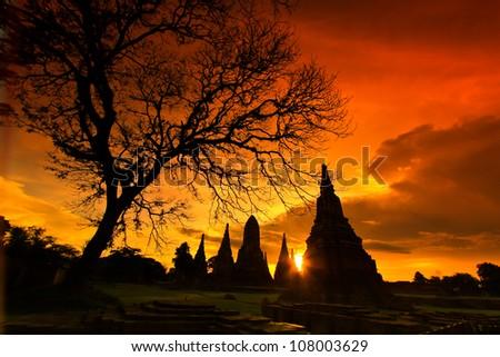 Sunset  old Temple wat Chaiwatthanaram of Ayuthaya Province Thai - stock photo