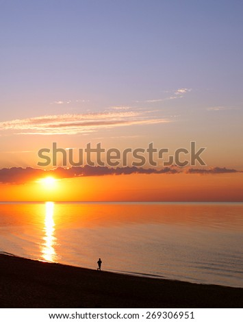 sunset on a Baltic sea beach