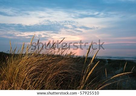 Sunset on a beach in denmark at summer - stock photo