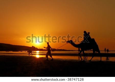 sunset on a beach in Morocco