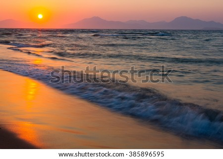 Sunset on a beach. Kos, Greece. motion, soft focus