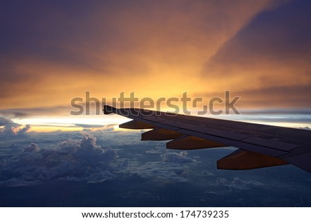 Sunset on a Plane over Thailand