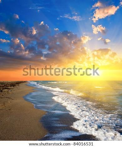 sunset on a sea - stock photo