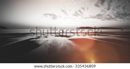 Sunset on a Tropical Island Paradise Nature Concept - stock photo