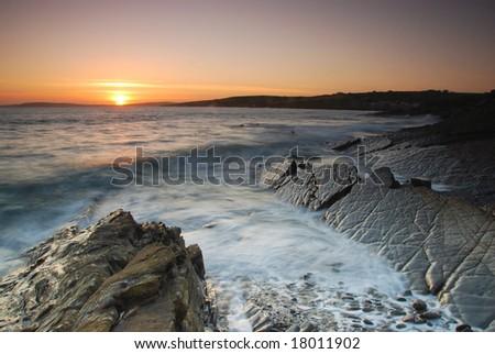 sunset on Atlantic - stock photo