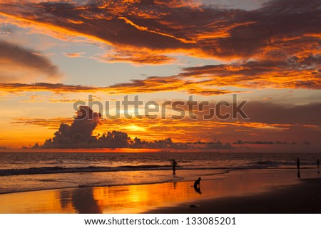 Sunset on beach in Bali in Indonesia