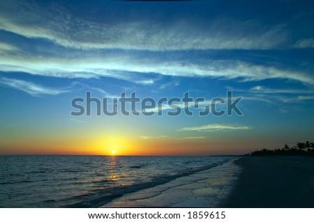 Sunset on Bowman's beach on Sanibel Island - stock photo