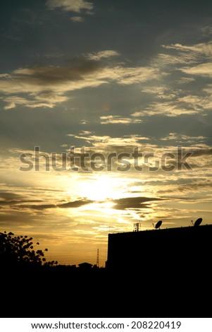 Sunset on building - stock photo