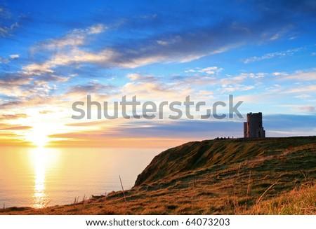 Sunset on Cliffs of Moher - Ireland - stock photo