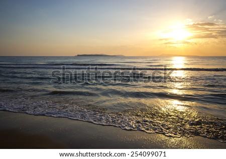 Sunset on Corfu island - Greece - stock photo