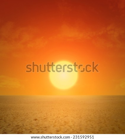 Sunset on desert for background - stock photo