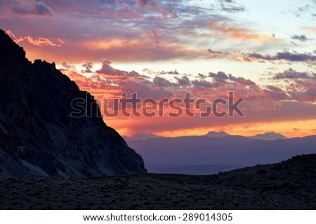 Sunset on Domuyo provincial Park, Neuquen, Argentina              - stock photo