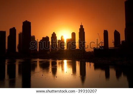 Sunset on Dubai Skyline