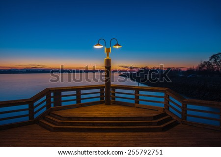 Sunset on Fraser River, Richmond, BC, Canada - stock photo