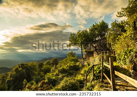 sunset on Friuli Venezia-Giulia, in the north-east of Italy, in a summer sunny day - stock photo