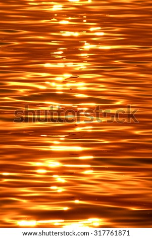 Sunset on golden sea