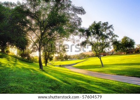 Sunset on golf course - stock photo
