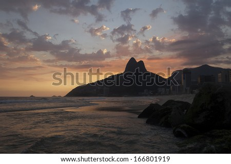 Sunset on Ipanema Beach, Rio de Janeiro, Brazil+ - stock photo