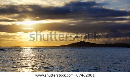 Sunset on Isabela, Galapagos - stock photo