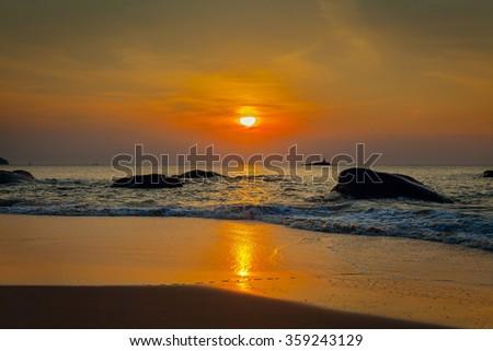 Sunset on Khao Lak beach. Thailand. - stock photo