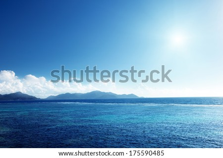 sunset on La Digue island, Seychelles - stock photo