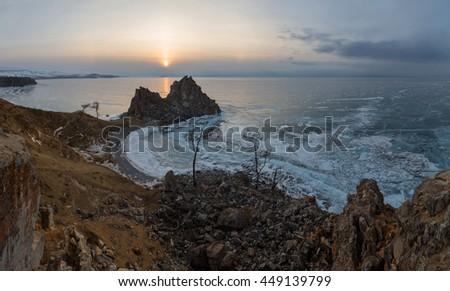 Sunset on Lake Baikal. Burkhan Cape, Olkhon island, Lake Baikal, Irkutsk region, Russia. - stock photo