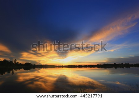 Sunset on lake in the summer , Evening sky  , Landscape , Backgrounds