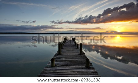 Sunset on Lake Peten Itza in Guatemala