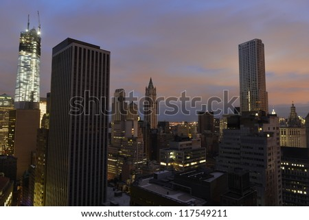 Sunset on Lower Manhattan following power outage as a result of Hurricane Sandy. Some parts of the city slowing getting power. - stock photo