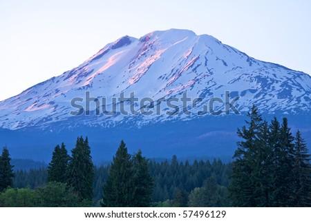 Sunset on Mount Adams, Washington - stock photo