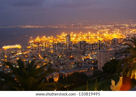 Sunset on Mount Carmel, Haifa, night view - stock photo