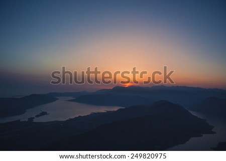 Sunset on Mount Lovcen in Montenegro. Panoramic views of the entire Bay of Kotor