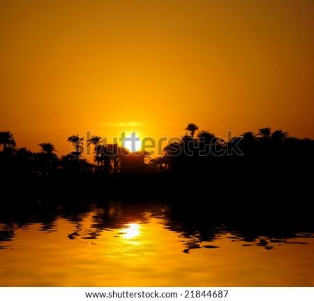 Sunset on Nile in Egypt - stock photo