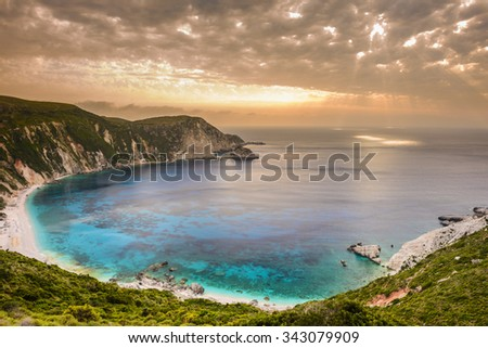 Sunset on Petani beach, Kefalonia (Greece) - stock photo