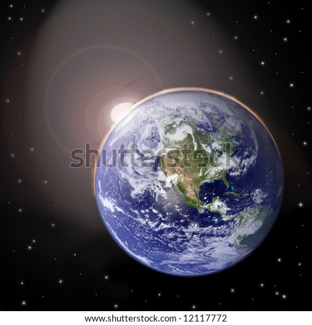 Sunset on planet earth - stock photo