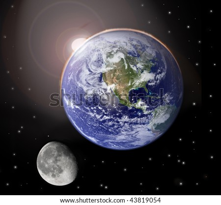 Sunset on planet earth and moon - stock photo