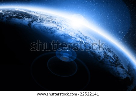 Sunset on planet earth on a dark background