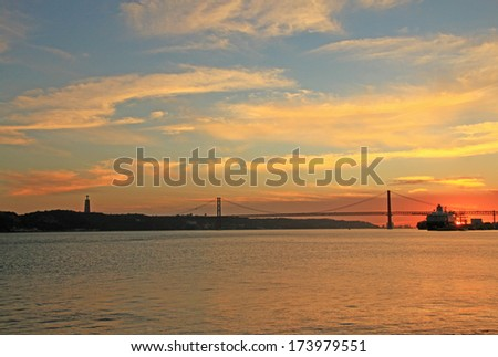Sunset on river Tejo (Lisbon, Portugal)  - stock photo