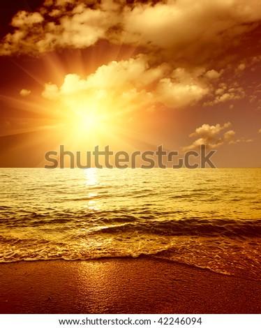 Sunset on sea - stock photo