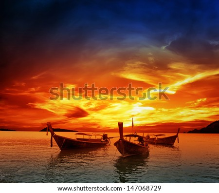 Sunset on sea in Thailand - stock photo