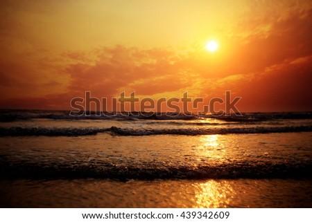 sunset on sea texture water summer sun - stock photo
