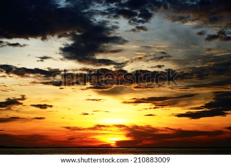 Sunset on Seascape scene / Seascape scene - stock photo