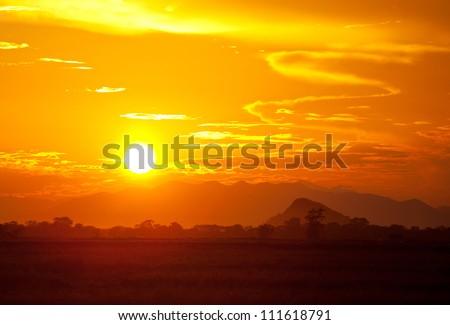 sunset on Sri Lanka - stock photo