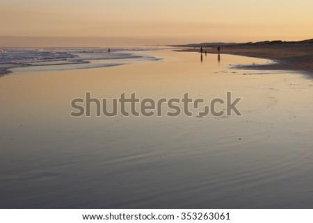 Sunset on Stockton Beach. Port Stephens. Anna Bay. Australia. - stock photo