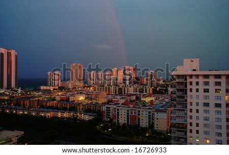 Sunset on Sunny Isles Beach after thunderstorm, Florida - stock photo