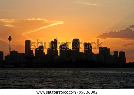Sunset on Sydney, Australia. - stock photo