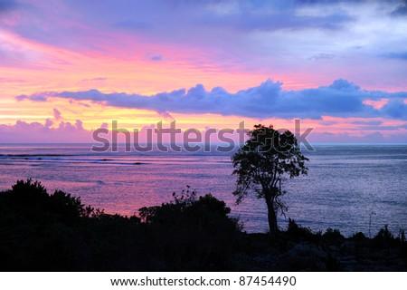 Sunset on Tanna Island, Vanuatu - stock photo