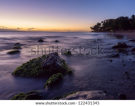 Sunset on the beach in Maui, Hawaii - stock photo