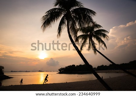 Sunset on the Beach in Singapore.