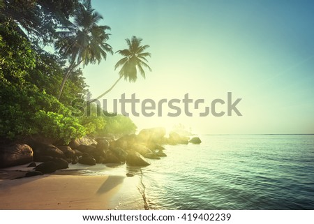 sunset on the beach, Mahe island, Seychelles - stock photo